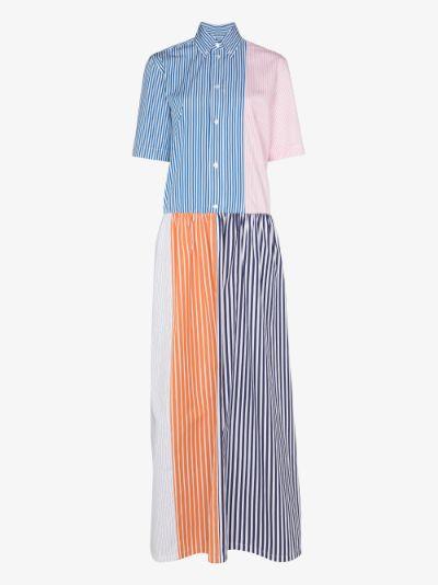 spliced striped shirt dress