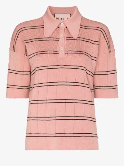 striped cotton knit polo top