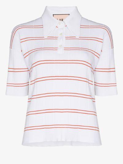 striped knit polo top