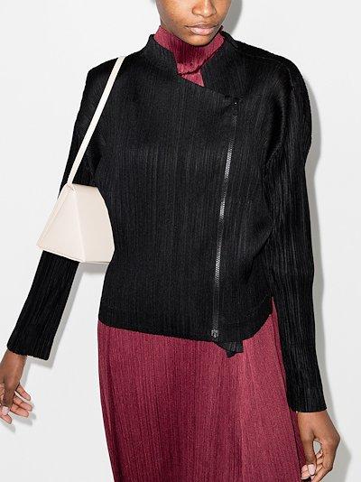 asymmetric zip-up plissé jacket