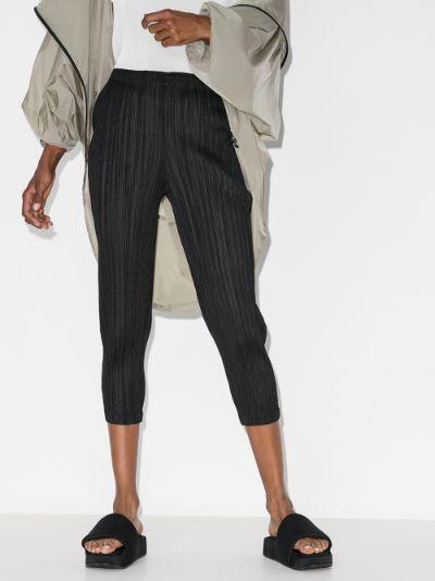 Basic cropped plissé trousers