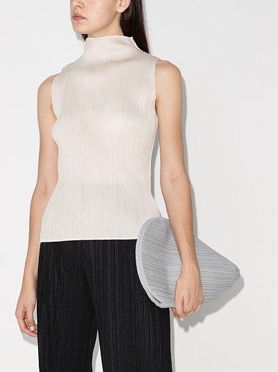 Basic high neck plissé top