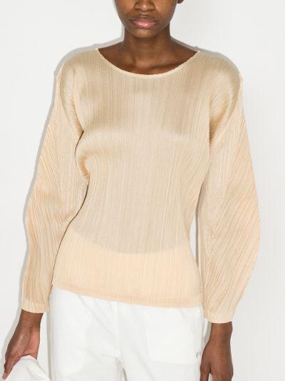 Basic long sleeve plissé blouse