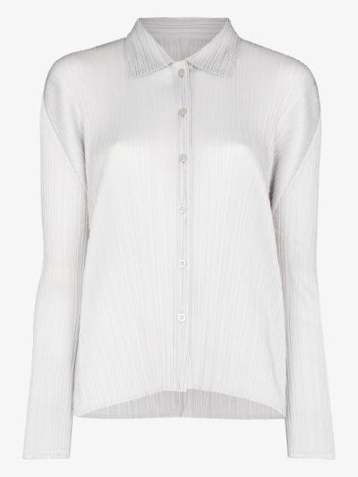 Basic long sleeve plissé shirt