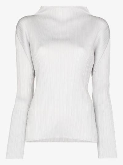 Basic long sleeve plissé top