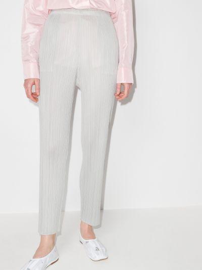 Basic plissé slim leg trousers