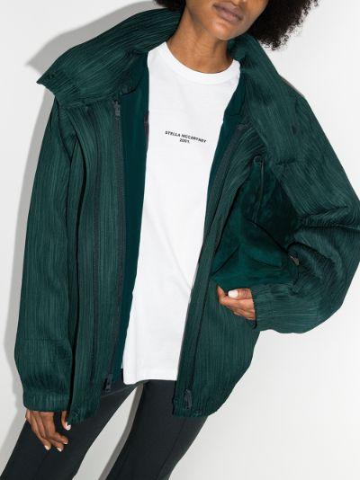Collared Asymmetric plissé bomber jacket