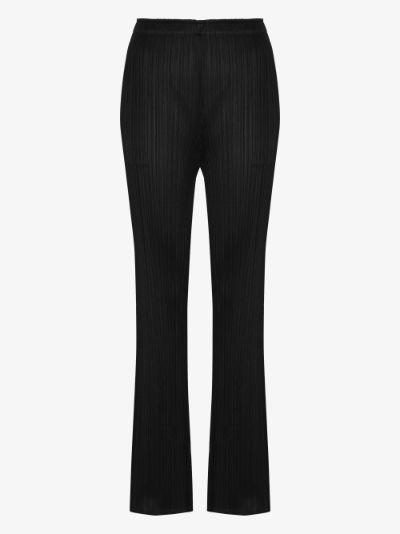 flared plissé trousers