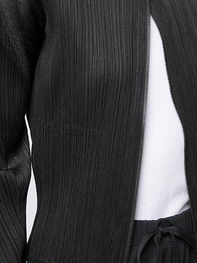 January plissé zip-up cardigan