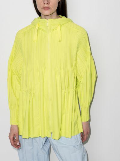 Jaunty pleated hooded jacket