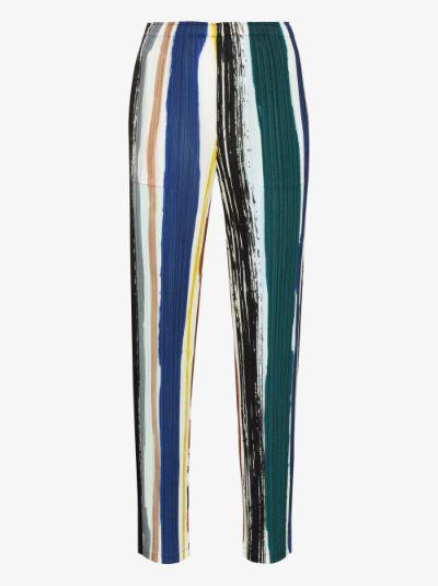 Leaf Vein plissé pleat trousers
