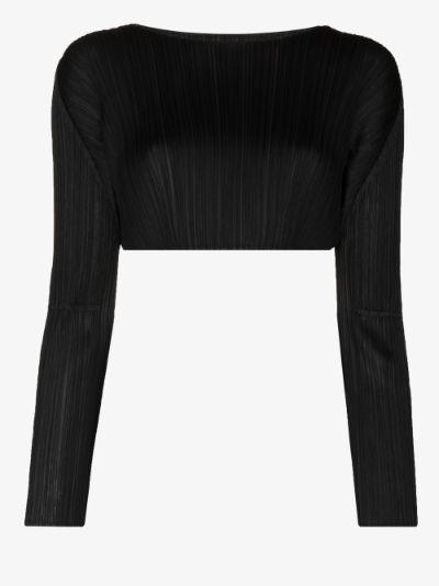 long sleeve plissé crop top