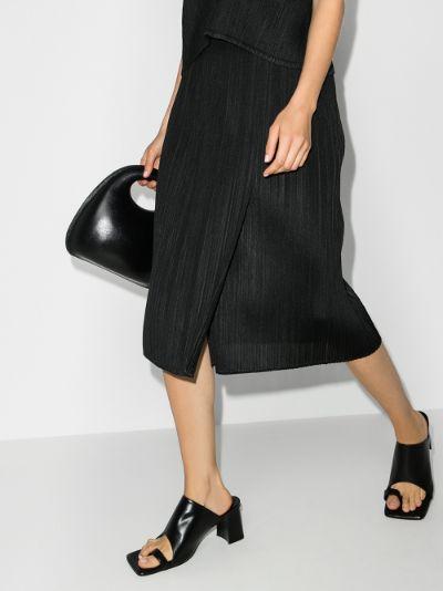 Monthly Colours July plissé midi skirt
