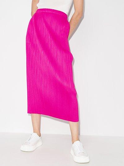 New Colourful Basics plissé midi skirt