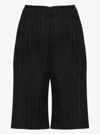 pleated knee-length shorts