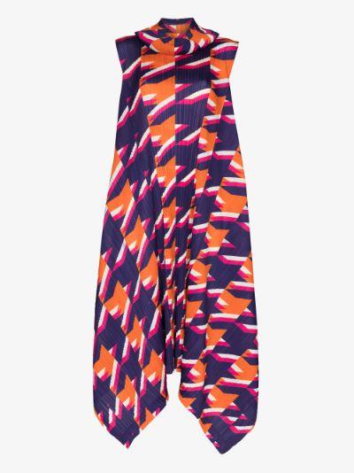 Shooting Stars Printed Plissé Dress