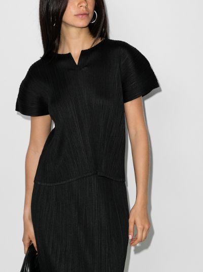 short sleeve plissé top