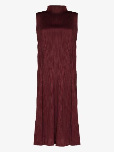 Sleeveless Plissé Midi Dress