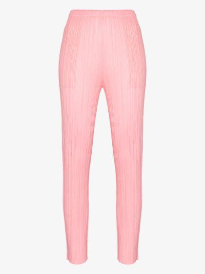 slim leg Plissé trousers