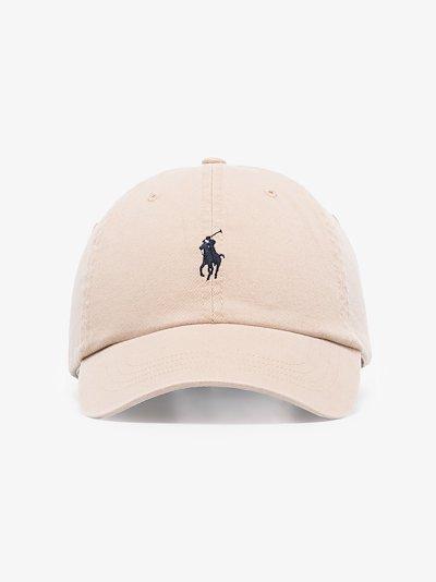 beige embroidered logo cotton cap
