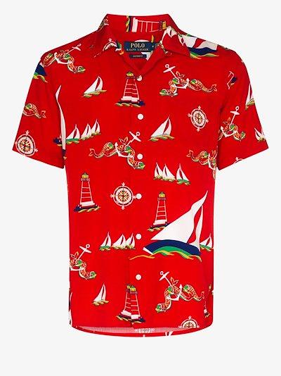 boat print short sleeve shirt