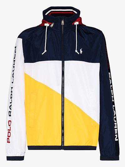 Contrast panel hooded jacket