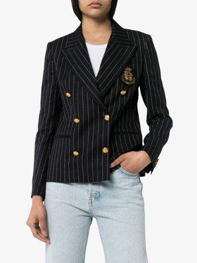 double-breasted pinstripe blazer