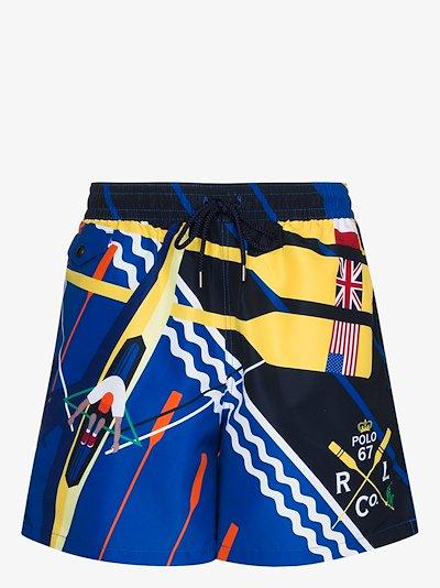 Explorer rowing print swim shorts