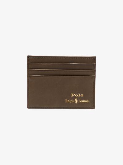 Green Logo Leather Card Holder
