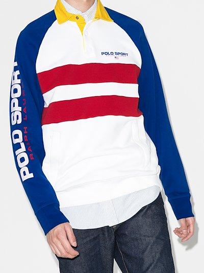 logo colour block polo shirt