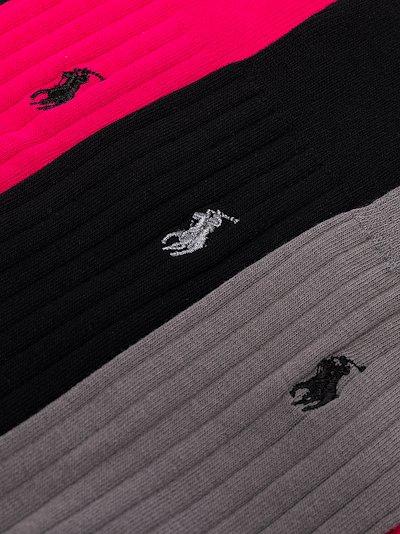 multicoloured ribbed logo socks set