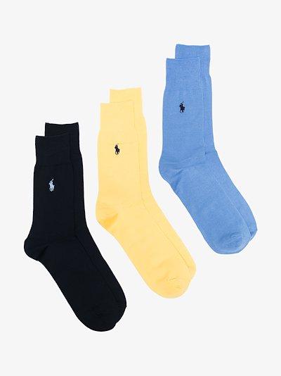 muticoloured ribbed logo socks set