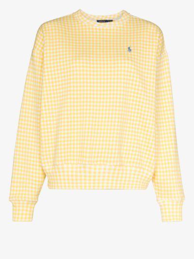 Polo Pony embroidered gingham sweatshirt