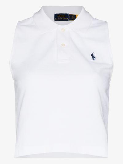 sleeveless cotton polo shirt