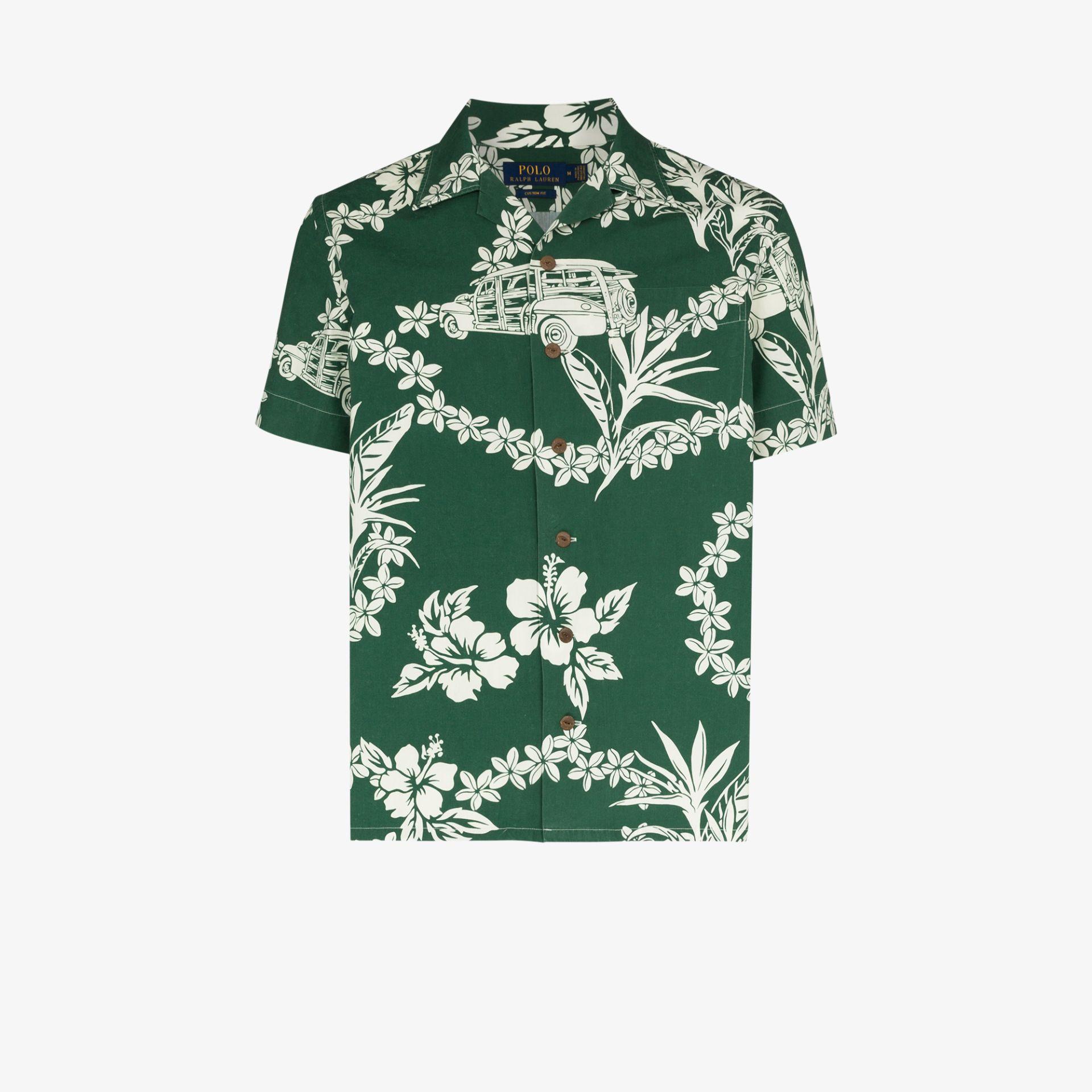 Guide London Tropical Leaf Print Cotton Polo T-Shirt SJ4986
