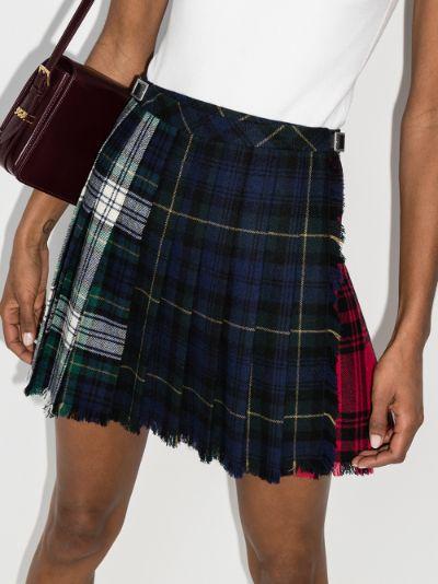 X Browns Fun plaid pleated wool mini skirt