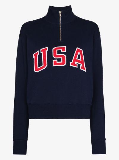 X Browns USA half zip sweatshirt