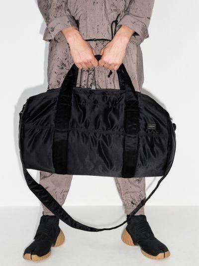 Black logo patch holdall bag