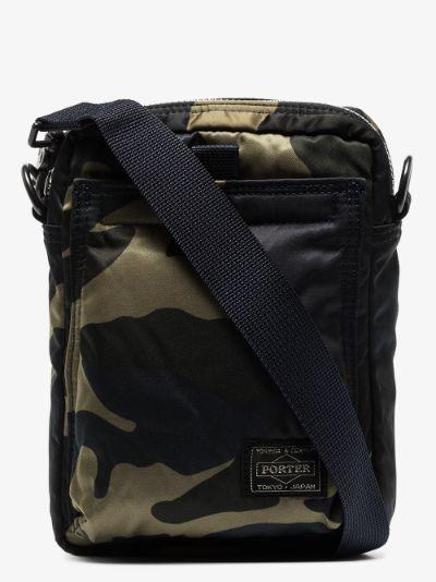 green Vertical camouflage cross body bag