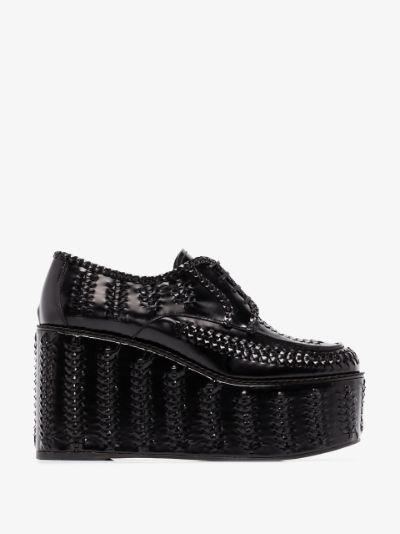 black 95 woven leather platform brogues