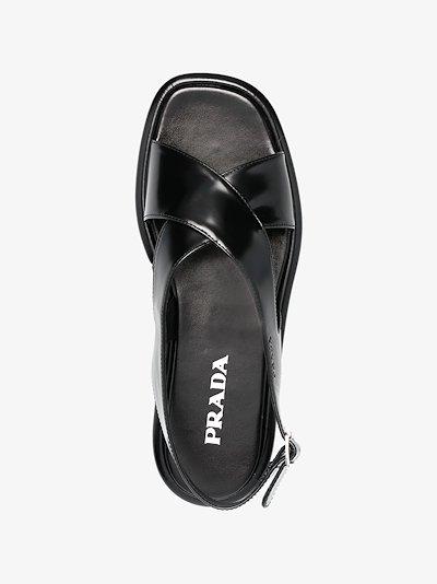 black flatform leather sandals