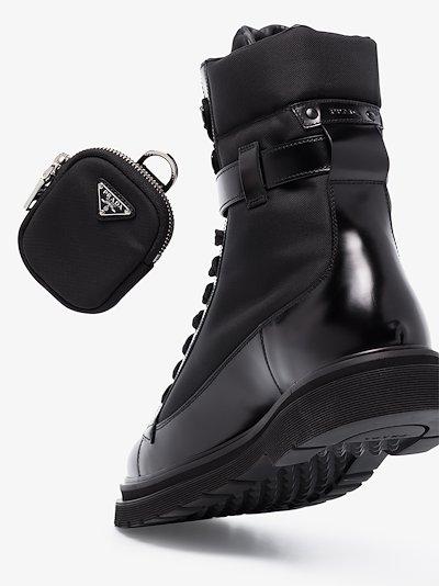 black lace-up combat boots