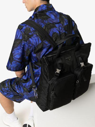 black logo nylon backpack