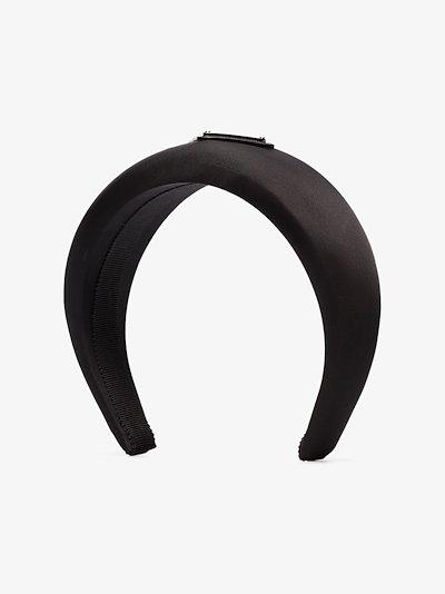 black logo nylon headband