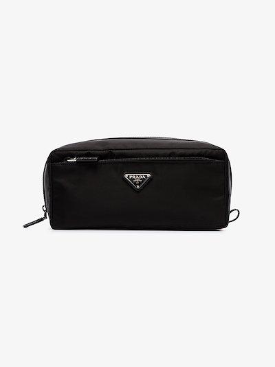 black logo nylon wash bag