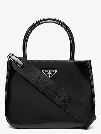 black logo patent leather tote bag