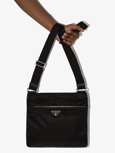 black logo plaque messenger bag