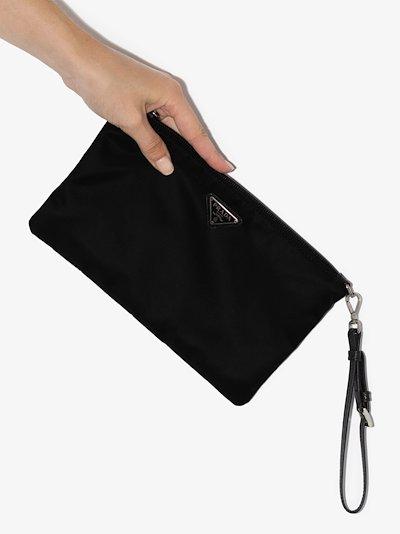 black logo plaque Re-Nylon pouch