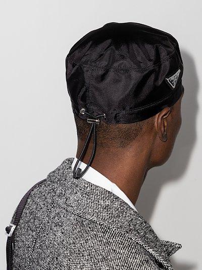 black nylon logo plaque beret