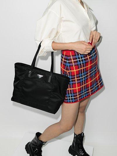 black nylon shopper tote bag